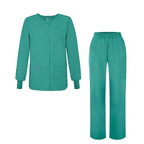 Adar Universal Women's Scrub Set - Warm-Up Scrub Jacket and Elastic Pull-On Pants - 902 - Surgical Green - L