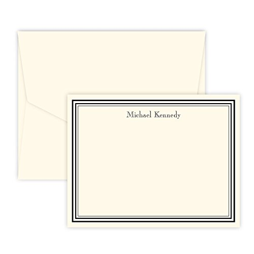 Personalized Colonial Bordered Raised Ink Correspondence Cards (Ivory)