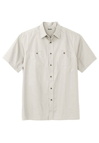 KingSize Men's Big & Tall Short Sleeve Solid Sport Shirt, Stone Big-3Xl (Shirt Woven Sport)
