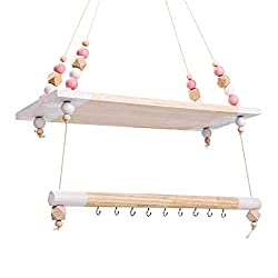 Wall Hanging Wooden Storage Rack Holder 2 Layers Shelf with Hooks Floating Display Bars Organizer Wall Decoration Accessories White