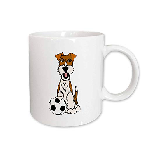 (3dRose All Smiles Art - Pets - Cool Funny Wire Fox Terrier Puppy Dog Playing Soccer Cartoon - 15oz Mug (mug_307679_2))