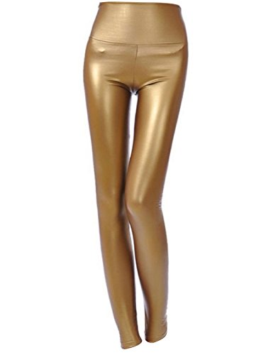 Jntworld Sexy Faux Leather High Waisted Leggings (XXL(US12 14 16), Dark Gold)
