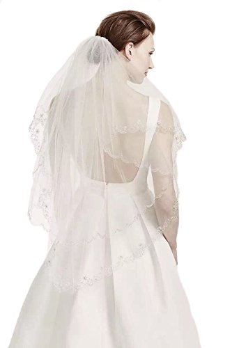 (Gogh 2T 2 Tier Silver Lined Beaded Edge Fingertip Length Bridal Wedding Veil 09 (Light Ivory))