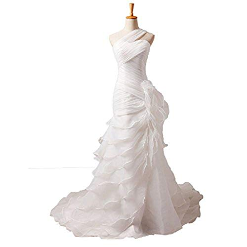 YIPEISHA Organza Mermaid Wedding Dresses Tiered Flowers Court Train One Shoulder Bridal Gowns 18W White