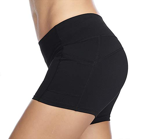 THE GYM PEOPLE Compression Short Yoga Shorts Women Power FlexRunning Fitness Shorts with Pockets (Medium, Black) by THE GYM PEOPLE (Image #3)