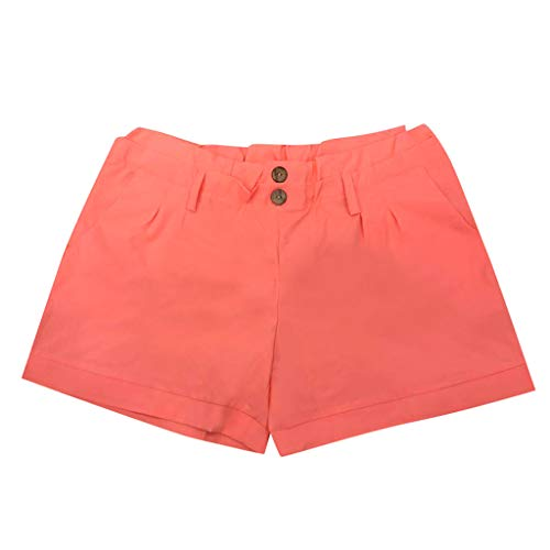 (JOFOW Womens Shorts Casual Low Waist Solid Pleated Buttons Mini Pants Bloomers Slim Loose Fashion Trousers Gift Summer (3XL,Orange Pink))