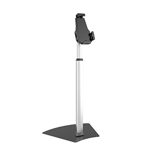 Anti-Theft Tablet Security Stand Kiosk - Heavy Duty Aluminum Metal Floor Standing Mount Tablet Case Holder Display w/Height Adjustable Pole