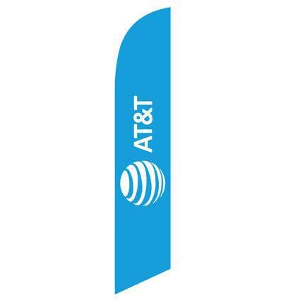 New Logo AT&T Wireless Blue 12ft Stock Feather Flag Kit with Pole and Spike