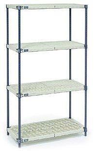 Nexel 4-Shelf Plastic Mat Shelving Unit with Blue Posts, 18