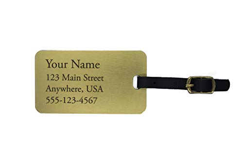 Deep Engraved Personalized Jumbo Brass Luggage Tags