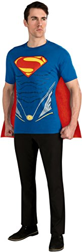 Rubie's Costume Superman Man of Steel Costume T-Shirt with Cape, Blue, X-Large (Superman Adult Costume)