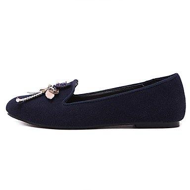 Cómodo y elegante soporte de zapatos de las mujeres pisos invierno otros forro polar Casual talón plano negro azul azul real