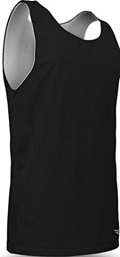 Black Reversible Sleeveless Shirt (Men's Tank Top Jersey-Uniform is Reversible to White-Great for Basketball, Football, Soccer, Lacrosse, and Practices-Colors available in Black, Green, Royal, Red, Navy (Small, Black/White))