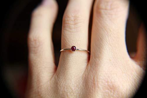 (Ruby Ring, Sterling Silver Ruby Ring, Dainty Ruby Ring,Tiny Ruby Ring, Thin Ruby Ring, July Birthstone, Genuine Ruby, Ruby Gemstone, Gift)