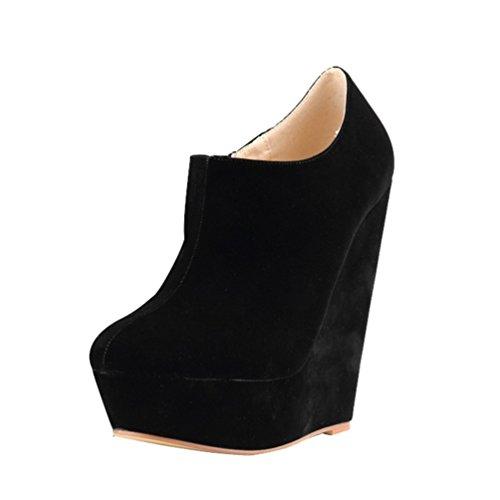 WanYang Nouveaux Femmes Hiver Bottines Talons bas Mode Bottes Automne Hiver Bottes Chaussures Plateforme Talon Haut Noir zsVZTfE