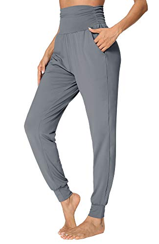 fitglam Women's Comfy Harem Pants High Waisted Tummy Control Lounge Joggers with Pockets