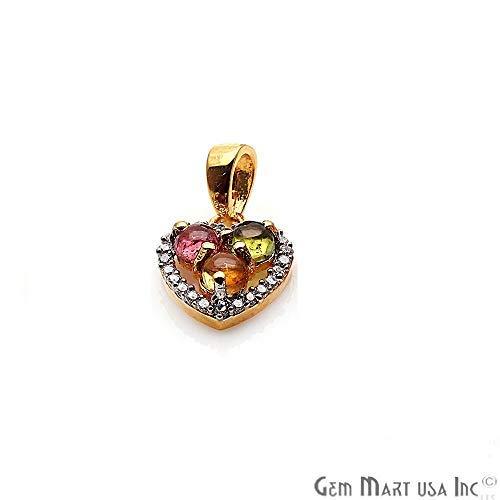 Multi Tourmaline Pendant, Heart Shape Necklace, Multi Tourmaline Bracelets Charms, Jewelry Making Supplies, GemMartUSA (GPMT-50114) ()
