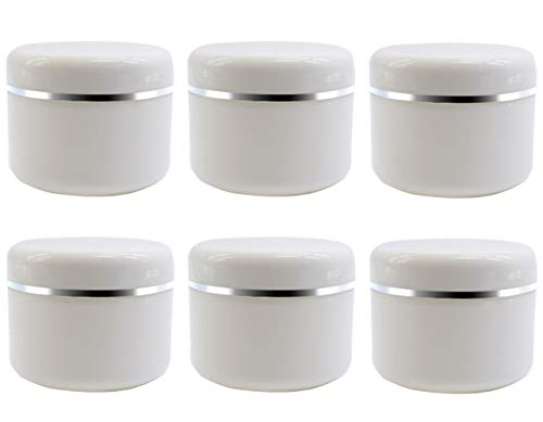 6PCS Empty Refill White Plastic Makeup Cosmetic Bottle Jar Pots with Screw Lid and PP Liner Travel Packing Storage Holder Container Case for Eye Shadow Cream Lotion Lip Balm and More(20G/0.7oz)