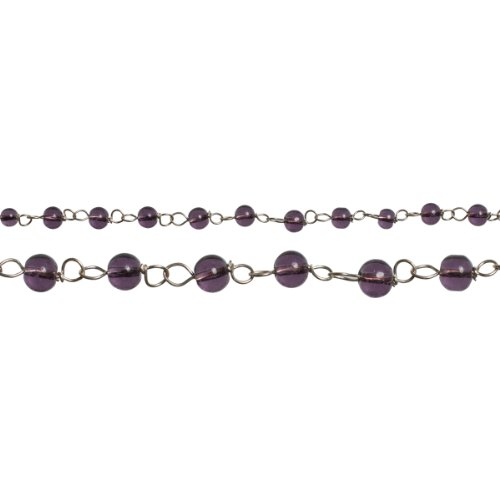 Linked Glass Beads - Cousin CCLGB-26057 Cross Culture Linked Glass Bead, 60-Inch, Purple