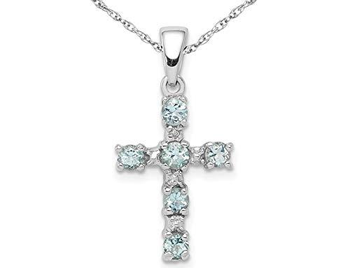 Aquamarine Cross Pendant - 1/3 Carat (ctw) Natural Aquamarine Cross Pendant Necklace in Sterling Silver with Chain