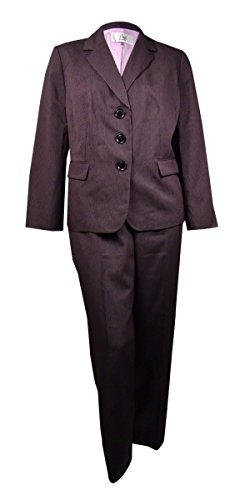 Le Suit Women's Plus Size 3 Button Pinstripe Pant, Black/Multi, 18W (Multi Suit Stripe Black)