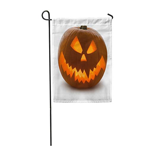 Tarolo Decoration Flag Orange Carving Halloween Pumpkin Scary Jack O Lantern White Yellow Clipping Curve Face Thick Fabric Double Sided Home Garden Flag 12