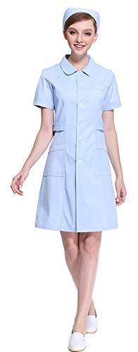 AvaCostume Women's Peter Pan Collar Button Front Nurse Scrub Dress, Blues -