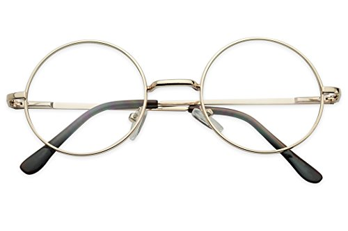 Sunglass Stop - Small Round Vintage Metal John Lennon Clear Lens Eye Glasses (Gold , Clear Lens ) -