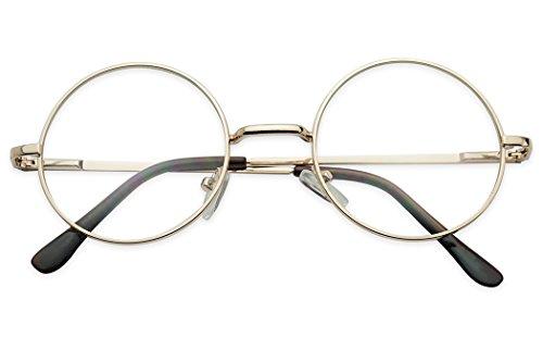 4f5ab169b6 Round 50mm Clear Lens Metal Wire Frame Uv400 Non Prescription Eye Fashion  Glasses