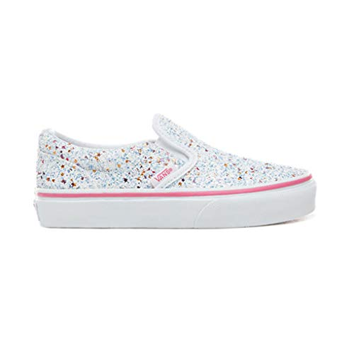 Vans Girl's Classic Slip-On Skate Shoe (10.5 M US Little Kid, (Glitter Stars) True White/Carmine -