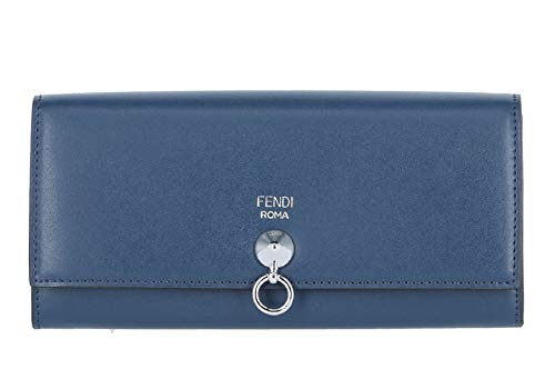 Fendi Dot Com By The Way Long Continental Flap Checkbook Blue Calf Leather Wallet 8M0251 ()