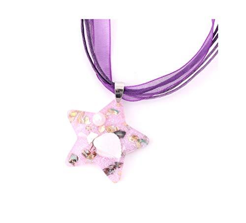 (JOYID Star Seashell Pearl Amber Pendnat Necklace Resin Multicolor Beauty Beach Jewelry for Women Girls-Purple)