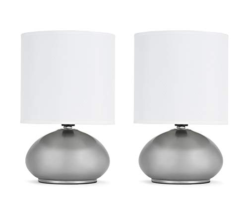 Linen Accent Lamp - Catalina Lighting 18581-000 Caden 2-pack Mini Metal Touch Accent Lamps with Linen Drum Shades, 9