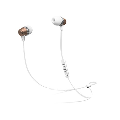 CYLO Platinum Series Metallic Bluetooth Version 4.1 Wireless In-Ear Earbuds with Remote and In-Line Microphone Stylish Design with Aluminum Casing and Hi-Def Audio (Rose Gold/ White) (Retractable Platinum Series)