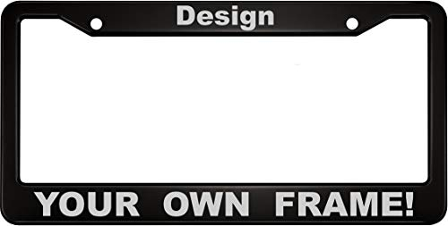 Custom Anodized Aluminum License Plate Frame & Free caps - Black