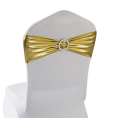- Metallic Gold Spandex Chair Bands Sashes - 12 pcs Wedding Banquet Party Event Decoration Chair Bows Ties (Metallic Gold, 12 pcs)