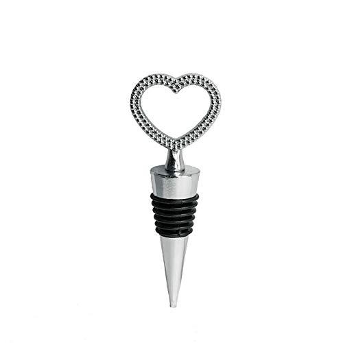 Efavormart Silver Metal Rhinestone Studded Heart Wine Bottle Stopper Wedding Favor With Velvet Gift Box - Lot of 25 ()
