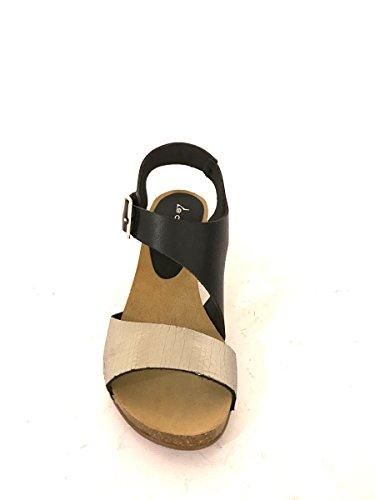 Sandalias tacón medio CC942de piel azul cuero negro correa mainapps negro