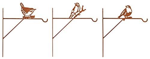 Esschert Design BPH65 Steel Plant Hangers Bird Assortment with Rusted Finish by Esschert Design