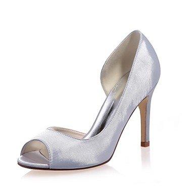 Zapatos Noche Verano Zapatos Mujer regalo Pump Primavera Básico Para Azul y abierta eu38 madre Fiesta boda de us7 Tacón Stiletto Morado mujer mejor El Satén 5 cn3 para Boda Plata y 5 uk5 Punta 5SYvOYn0