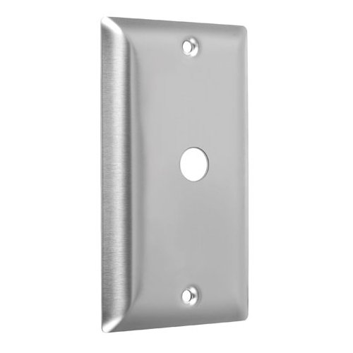 Stainless Steel Finish Phone - Taymac WSS-C Standard Stainless Steel Wallplate with Communication, Single Gang, Smooth Brushed Finish