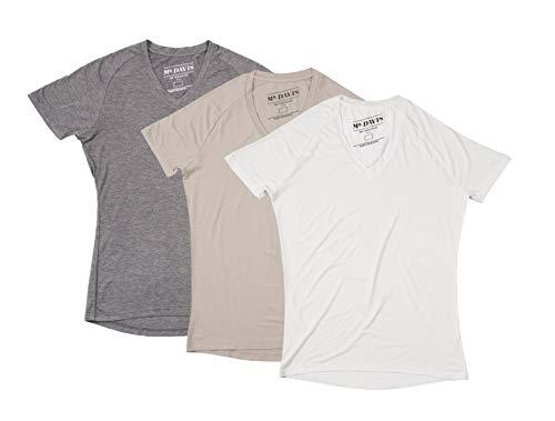 (Mr. Davis Comfort Fit Premium Bamboo Viscose Tailored Cut V Neck Men's Undershirt Variety 3 Pack Size Medium in Tone, White and Grey )