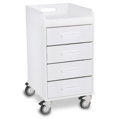TrippNT 51032 Compact 4 Drawer Locking Cart, White Polyethylene