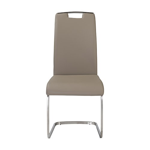 Euro Style 81014TPE Karl Chair Side (Set of 4), Taupe Leatherette - Euro Style Contemporary Chair