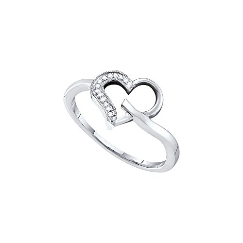 10kt White Gold Womens Round Diamond Heart Outline Ring 1/20 Cttw by JawaFashion