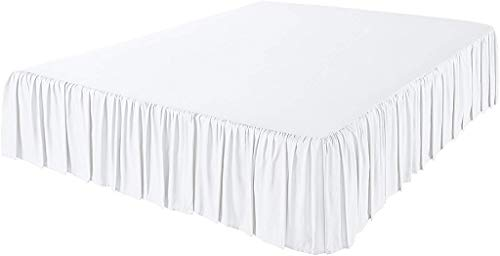 Angel Bedding 3 Side Coverage Ruffle/Gathered Bed Skirt with 13 Inch Drop Length (Queen, Solid White) 1800 Series Brushed Microfiber - Covers Bed Legs and ()