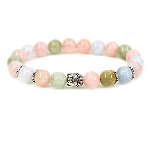 "Natural Morganite Beryl Aquamarine with 925 Sterling Silver Buddha Head Gemstone 8mm Round Beads Stretch Bracelet 7"" Unisex"