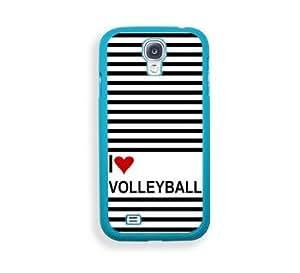 Love Heart Volleyball Aqua Plastic Bumper Samsung Galaxy S4 I9500 Case - Fits Samsung Galaxy S4 I9500