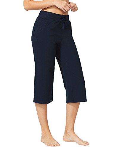 (Baleaf Women's Active Yoga Lounge Capri Pants with Pockets Navy Blue Size)
