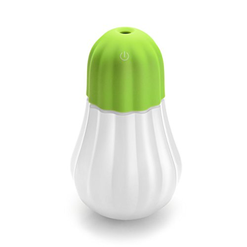 Humidifier, Hard Crafts Bulb Personal Humidifier - 350 ml Portable Cool Mist Humidifier with LED Lights, Humidifiers for Home Office Bedroom Room (Green) by Hard Crafts